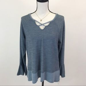 NWT Style & Co.  Strapped Neck Blue Tunic Top S